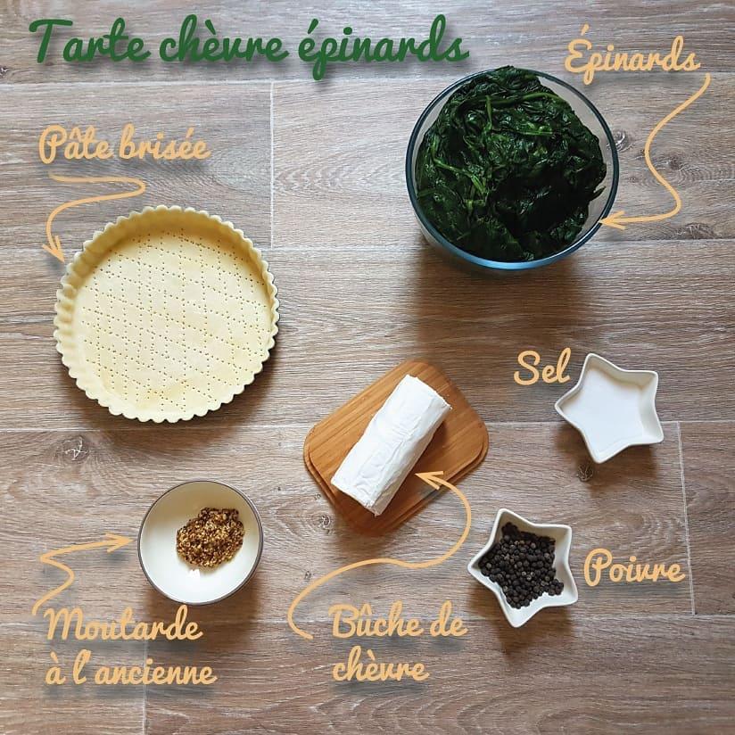 Ingrédients tarte épinard et chèvre