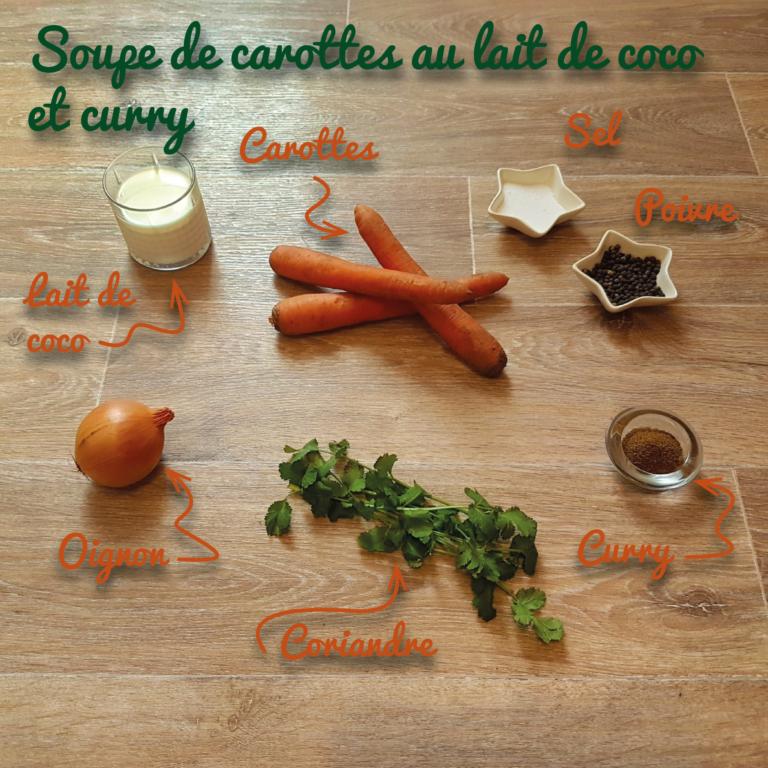 Ingredients soupe de carottes au lait de coco et curry