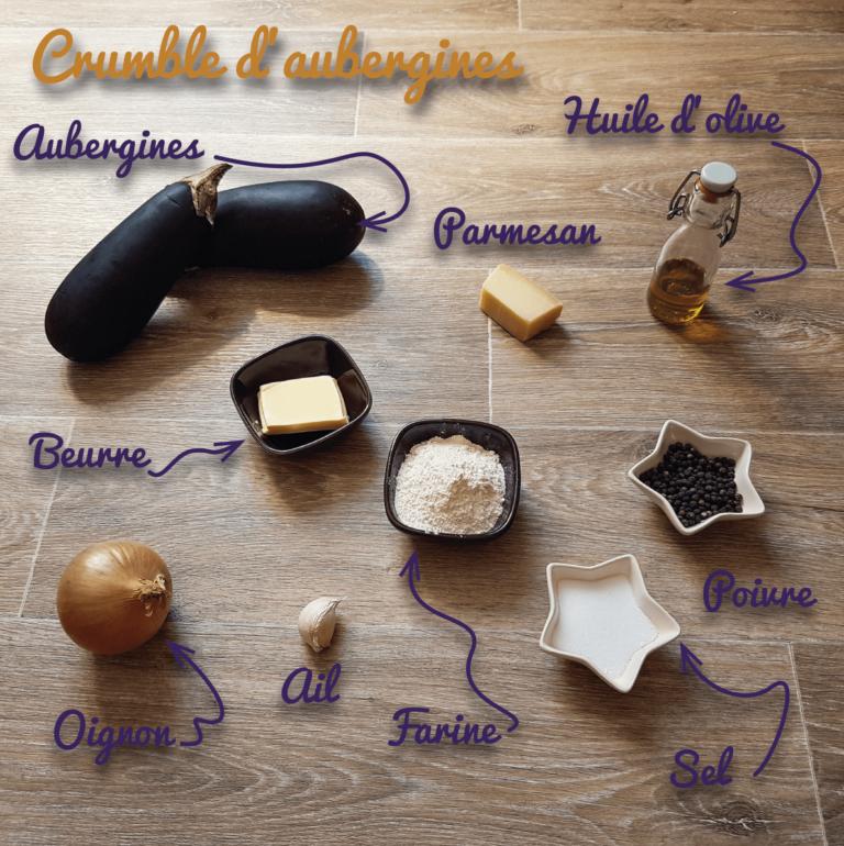 Ingrédients crumble aubergine