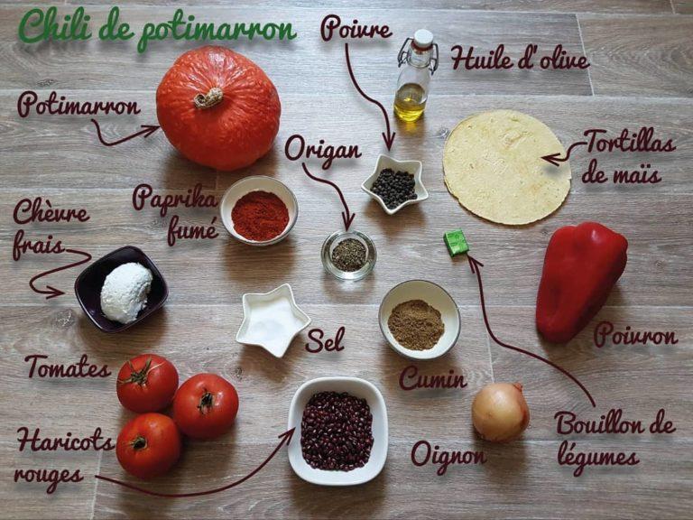 Ingrédients chili de potimarron