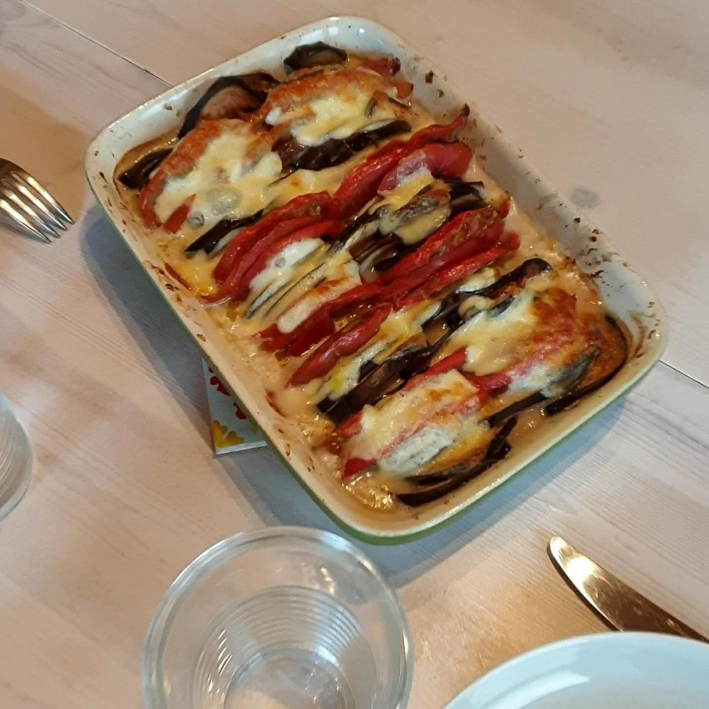 Aubergines, tomates et mozzarella rôtis